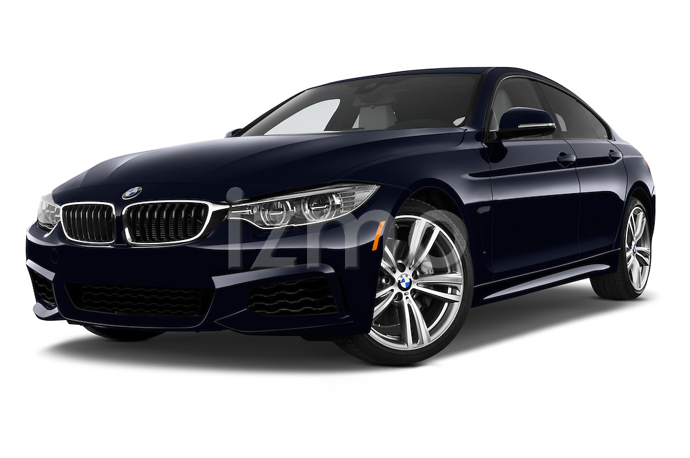 Stock pictures of low aggressive front three quarter view of 2015 BMW 4 Series 435i Gran Coupe 5 Door Hatchback Low Aggressive