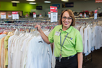 NWA Democrat-Gazette/ANTHONY REYES &bull; @NWATONYR<br /> Sarah Pine, assistant manager at Goodwill, inside her store Friday, Nov. 13, 2015 in Springdale. Pine is a graduate of a job training program through Goodwill and has worked for the store for five years and has been promoted to assistant manager.