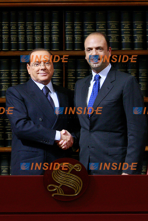 Il Presidente del PDL Silvio Berlusconi ed il Segretario del PDl Angelino Alfano .Roma 25/05/2012 Senato Aula Koch. Conferenza stampa del PDL..Photo Samantha Zucchi Insidefoto