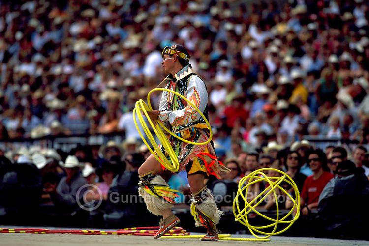 Native American Indian Hoop Dancer performing Hoop Dance at Calgary Stampede Rodeo, Calgary, Alberta, Canada - Editorial Use Only