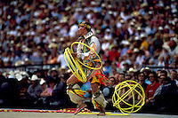 Native American Indian Hoop Dancer performing Hoop Dance at Calgary Stampede Rodeo, Calgary, Alberta, Canada - Editorial Use Only