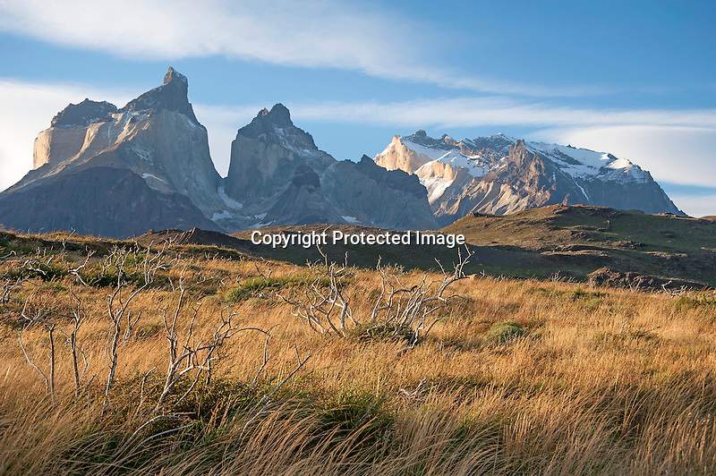 Rugged Los Cuernos Mountain Peaks in Torres del Paine National Park in Patagonia Chile