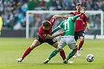 13.04.2019, Weserstadion, Bremen, GER, 1.FBL, Werder Bremen vs SC Freiburg<br /> <br /> DFL REGULATIONS PROHIBIT ANY USE OF PHOTOGRAPHS AS IMAGE SEQUENCES AND/OR QUASI-VIDEO.<br /> <br /> im Bild / picture shows<br /> Nico Schlotterbeck (SC Freiburg #49) im Duell / im Zweikampf mit Milot Rashica (Werder Bremen #11), <br /> <br /> Foto &copy; nordphoto / Ewert