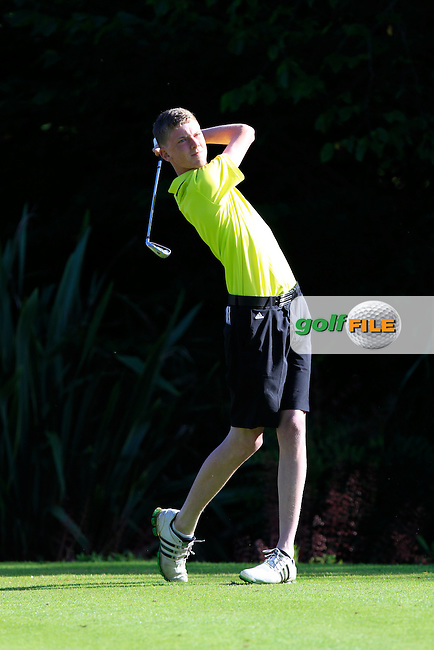 Hugh Twomey (Rosslare) on the 1st tee during Round 1 of the Grange Dublin Boys on Monday 21th July 2014.<br /> Picture:  Thos Caffrey / www.golffile.ie
