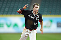 Tyler Bielamowicz (13) of the Houston Cougars hustles towards third base against the Mississippi State Bulldogs in game six of the 2018 Shriners Hospitals for Children College Classic at Minute Maid Park on March 3, 2018 in Houston, Texas. The Bulldogs defeated the Cougars 3-2 in 12 innings. (Brian Westerholt/Four Seam Images)