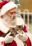 WATERBURY, CT-- 27 NOVEMBER 2007--112707JS05-Santa poses with Pebbles and Gizzie, two kittens owned by Dawn Britton and Heather Britton of Waterbury, on Tuesday as part of the Brass Mill Center's annual Pet Photo with Santa event. Pet night will also be held on Dec. 4 and Dec 11 from 6 to 9 p.m.<br /> Jim Shannon / Republican-American