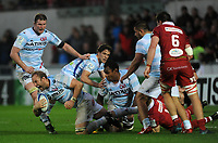 Racing 92 Antonie Claassen is tackled by Scarlets' Johnny Mcnicholl<br /> <br /> Photographer Ian Cook/CameraSport<br /> <br /> European Rugby Champions Cup - Scarlets v Racing 92 - Saturday 13th October 2018 - Parc y Scarlets - Llanelli<br /> <br /> World Copyright &copy; 2018 CameraSport. All rights reserved. 43 Linden Ave. Countesthorpe. Leicester. England. LE8 5PG - Tel: +44 (0) 116 277 4147 - admin@camerasport.com - www.camerasport.com