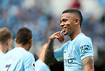 Manchester City's Gabriel Jesus celebrates scoring his sides third goal during the premier league match at the Etihad Stadium, Manchester. Picture date 9th September 2017. Picture credit should read: David Klein/Sportimage