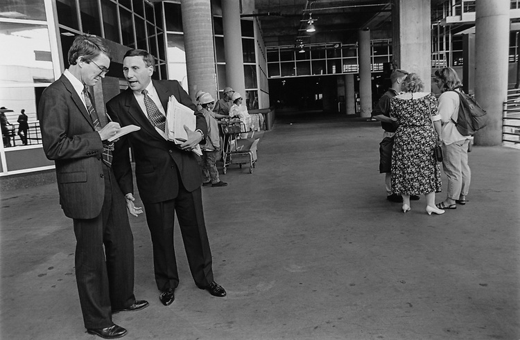 Rep. John Mica, R-Fla., speaking to Associated Press reporter, Jim Drinkard, at Union Station before boarding a New York City bound train, with wife Patricia Mica, and kids Clark and D'Anne (age 14 and 17), on May 13, 1993. (Photo by Maureen Keating/CQ Roll Call via Getty Images)
