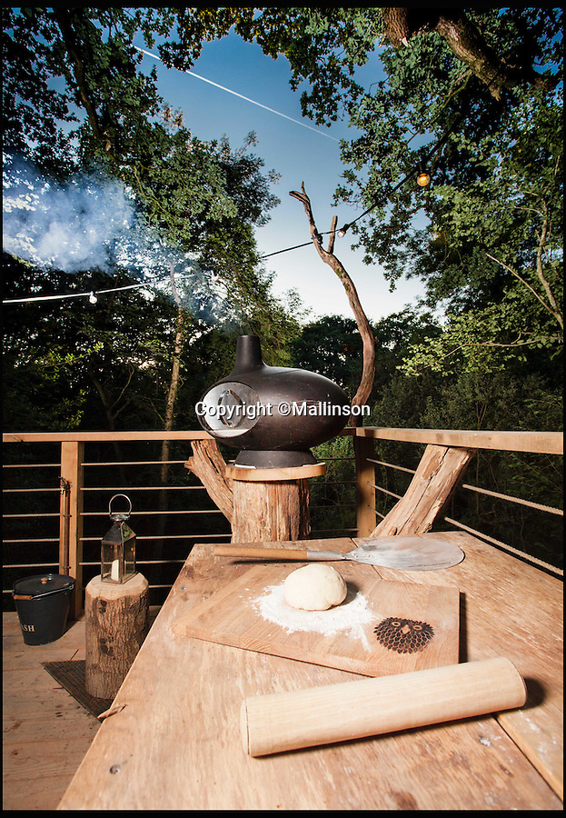 BNPS.co.uk (01202 558833)<br /> Pic: Mallinson/BNPS<br /> <br /> Pizza oven in the treetops...<br /> <br /> Release your inner Tarzan...in Britain's poshest treehouse.<br /> <br /> A luxury glamping site in deepest Dorset has created a luxurious treehouse that comes with its own sauna, hot tub, rotating fireplace and pizza oven.<br /> <br /> The Woodsman's Treehouse is perched 30ft from the ground on long stilts and has two floors. <br /> <br /> It has a spiral staircase and a stainless steel slide for quick access to the ground and can be rented out from £390 a night. <br /> <br /> It is located at the Crafty Camping glamping site at Holditch in west Dorset.