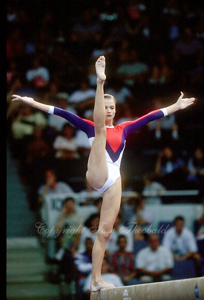 July 26, 1998; New York, NY, USA; Artistic gymnast Svetlana Khorkina of Russia performs balance beam at 1998  Goodwill Games New York. Copyright 1998 Tom Theobald