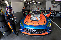DAYTONA BEACH, FL - JAN 24: Ben Keating stands by the #74 Merceds AMG GT3 in the garage before the Rolex 24 at Daytona at Daytona International Speedway, Daytona Beach, Florida,  January 24, 2020. (Photo by Brian Cleary/BCPix.com)