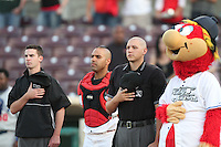 Umpire Brett Terry, Jose Jimenez of the Inland Empire 66'ers, Umpire John Bostwick and 66'ers mascot Bernie before game against the Stockton Ports at Arrowhead Credit Union Park in San Bernardino,California on May 5, 2011. Photo by Larry Goren/Four Seam Images