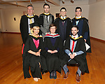 19/1/2015   (with compliments)  Attending the University of limerick conferrings on Monday afternoon were these graduates conferred with an MSc in Risk Management and Insurance were standing from left Mark Cotter, Clancy Strand, Ciaran Fitzgerald, Ballyclough, Michael Cunningham, Castletroy and Paul Fanning, Lisnagry.    Seated from left are Evelyn Barrett, Cappamore,  Course Director Dr Orla McCullagh, Dept of Accounting & Finance, KBS, UL., and Luke Sexton, Newcastlewest.   Picture Liam Burke/Press 22