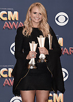 LAS VEGAS, NV - APRIL 15:  Miranda Lambert in the press room at the 53rd Annual Academy of Country Music Awards at MGM Grand Garden Arena on April 15, 2018 in Las Vegas, Nevada. (Photo by Scott Kirkland/PictureGroup)