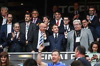 Denis Masseglia president of CNOSF, Bernard Laporte president of FFR, Emmanuel Macron french president and Paul Goze president of LNR during the French Final Top 14 match between Montpellier and Castres at Stade de France on June 2, 2018 in Paris, France. (Photo by Anthony Dibon/Icon Sport)