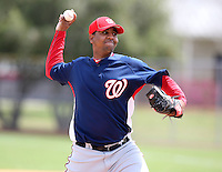 March 22, 2010:  Pitcher Marcos Frias of the Washington Nationals organization during Spring Training at the Carl Barger Training Complex in Melbourne, FL.  Photo By Mike Janes/Four Seam Images