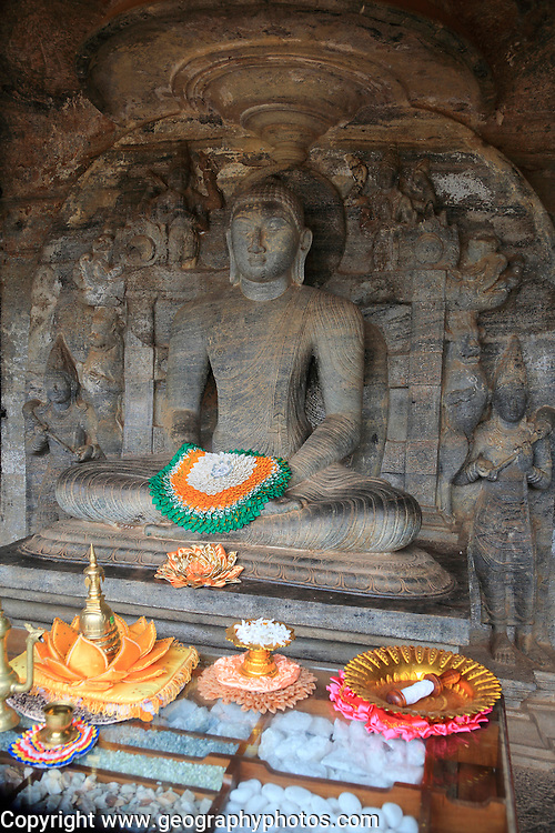 Seated Buddha figure, Gal Viharaya, UNESCO World Heritage Site, the ancient city of Polonnaruwa, Sri Lanka