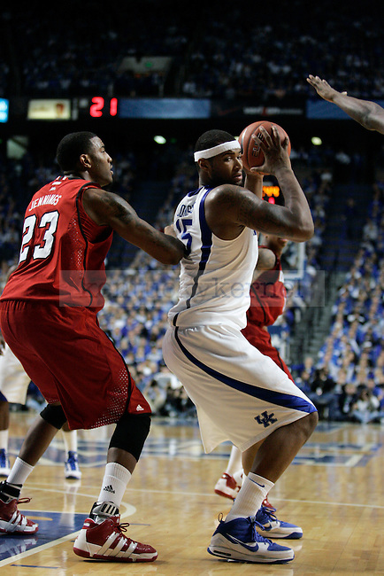 Freshman forward DeMarcus Cousins tries to get past Louisville defense in the second half of UK's win over Louisville at Rupp Arena on Saturday, Jan. 2, 2010. Photo by Britney McIntosh | Staff