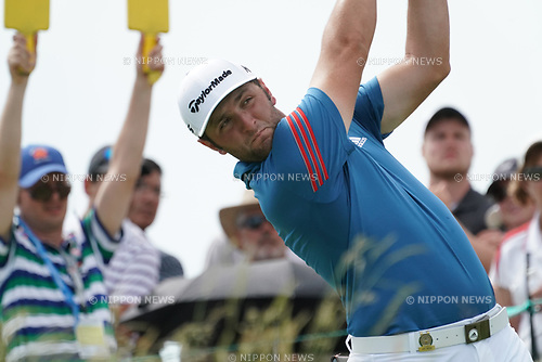 Jon Rahm, of Spain on the 8th hole during the second round of the 117th U.S. Open Championship at Erin Hills golf course in Erin, Wisconsin, United States.<br /> (Photo by Koji Aoki/AFLO SPORT)