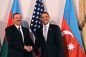 United States President Barack Obama (R) shakes hands with President Ilham Aliyev of Azerbaijan at a bilateral meeting, Friday, September 24, 2010 in New York City. Obama has been in New York since Wednesday attending the annual General Assembly at the United Nations, where yesterday he stressed the need for a resolution between Israel and Palestine, and a renewed international effort to keep Iran from attaining nuclear weapons. .Credit: Spencer Platt - Pool via CNP
