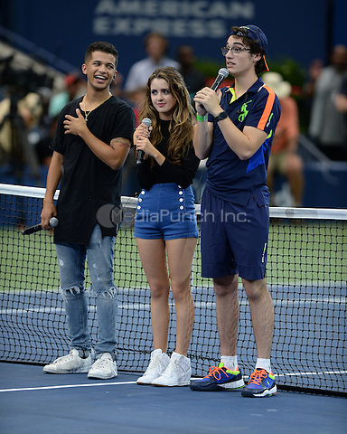 FLUSHING NY- AUGUST 26: Joey Bragg, Laura Marano and Jordan Fisher during rehearsals for Arthur Ashe kids day at the USTA Billie Jean King National Tennis Center on August 26, 2016 in Flushing Queens. Photo byMPI04 / MediaPunch