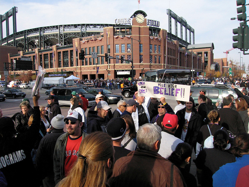 Baseball fans outside of Coors Field prior to game 3 of the 2007 world series between the Colorado Rockies and the Boston Red Sox.
