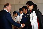 (L-R)<br /> Alex Gilady IOC member,<br />  2014U19Maho Tosa,<br />  2014U19Kaya Aoki,<br />  2013Takatomo Furumai,<br />  2013Takumi Shiga,<br />  Haruna Sakakibara,<br /> APRIL 3, 2014 : IOC committee members inspected the athletes village, Koji Murofushi director, Yoichi Masuzoe Tokyo governor  and U23 Rowing national team's member was welcomed at Harumi Port Terminal in Tokyo, Japan. (Photo by AFLO SPORT) [1195]