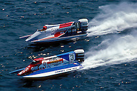 #3 and Cees van der Velden (#1) USFORA Formula One (F1) Tunnel Boats, Cincinnati, Ohio 1988