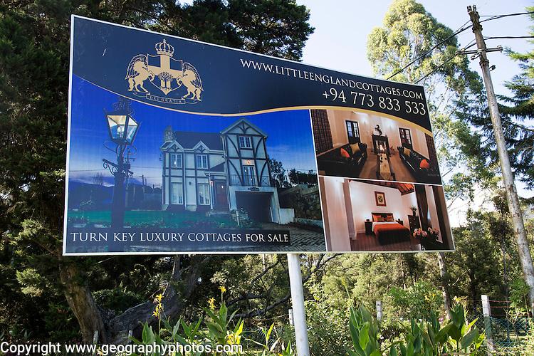 Billboard advertising poster luxury cottages for sale, town of Nuwara Eliya, Central Province, Sri Lanka