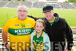Michael Landers, Jo Jo and John Landers, all from Listowel, pictured at the Kerry v Clare football championship semi-final held at Fitzgerald Stadium, Killarney on Sunday last.