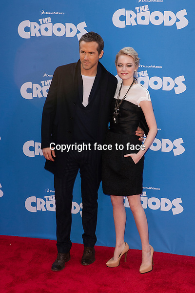 Ryan Reynolds, Emma Stone at the premiere of The Croods at AMC Loews Lincoln Square on March 10, 2013 in New York City...Credit: MediaPunch/face to face..- Germany, Austria, Switzerland, Eastern Europe, Australia, UK, USA, Taiwan, Singapore, China, Malaysia and Thailand rights only -