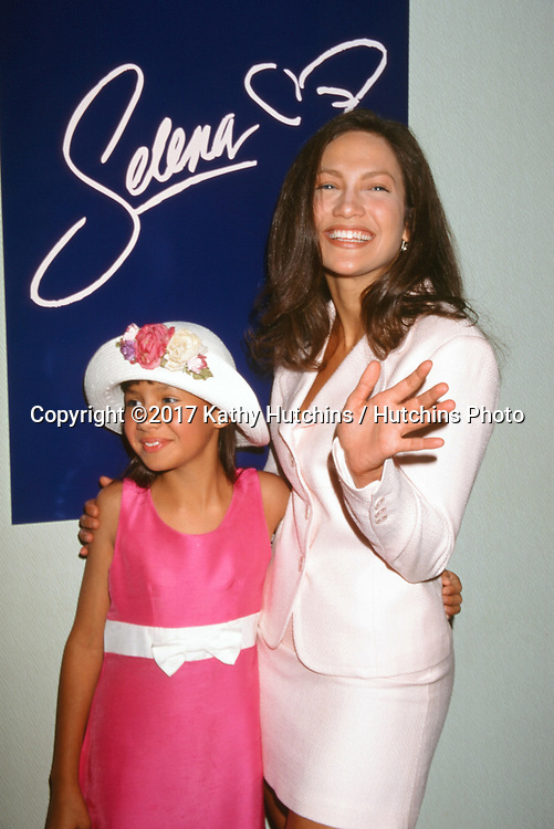 """LOS ANGELES - JUN 19:  Becky Lee Meza, Jennifer Lopez at the """"Selena"""" Press Conference at the Four Seasons Hotel on June 19, 1996 in Beverly Hills, CA"""