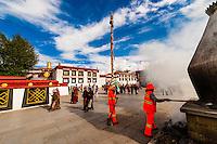 Incense burners, Barkhor Square, Lhasa, Tibet (Xizang), China.