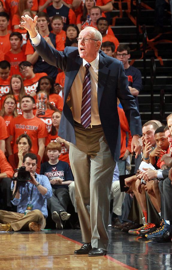 Syracuse head coach Jim Boeheim reacts to a call during an NCAA basketball game Saturday March 1, 2014 in Charlottesville, VA. Virginia defeated Syracuse 75-56.