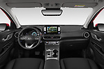Stock photo of straight dashboard view of 2019 Hyundai Kona-EV Ultimate 5 Door SUV Dashboard