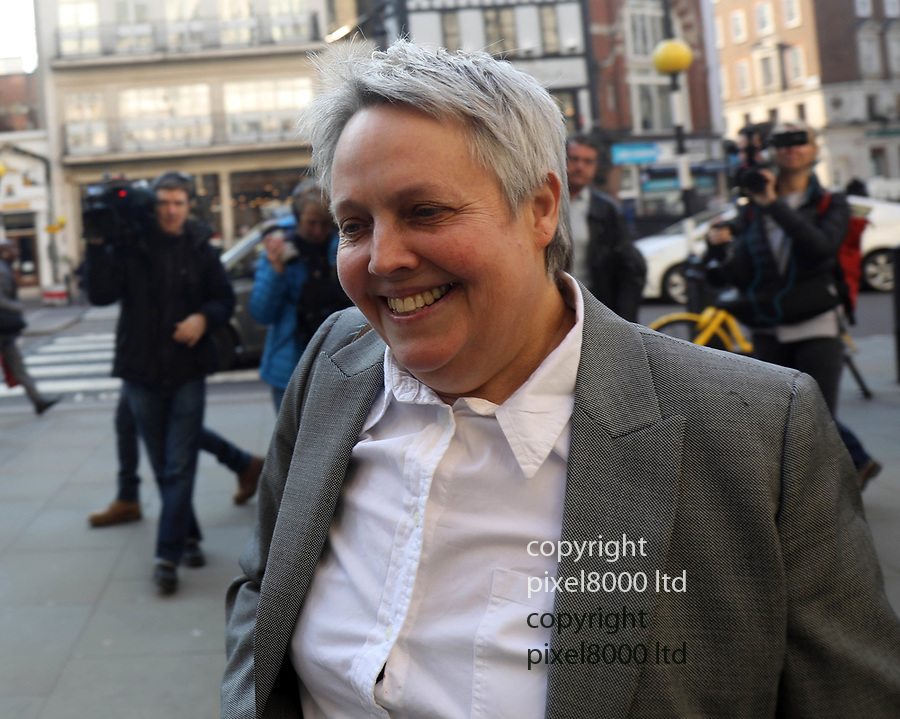"""Pic shows: High Court London 27.2.19<br /> <br /> Her lawyer  Harriet Wistrich arrives at court today<br /> <br /> Georgina """"Sally"""" Challen appeal<br /> <br /> son David met supporters outside the court as the appeal began.<br /> <br /> <br /> <br /> <br /> pic by Gavin Rodgers/Pixel8000"""
