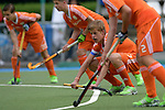 GER - Mannheim, Germany, May 16: During the whitsun tournament boys hockey match between Germany (black) and The Netherlands (orange) on May 16, 2016 at Mannheimer HC in Mannheim, Germany. Final score 4-3 (HT 2-0). (Photo by Dirk Markgraf / www.265-images.com) *** Local caption *** Justen Blok #7 of The Netherlands