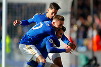 1st February 2020; King Power Stadium, Leicester, Midlands, England; English Premier League Football, Leicester City versus Chelsea; Ayoze Perez, James Maddison and Ben Chilwell of Leicester City celebrate Chilwell's goal after 64 minutes (2-1)