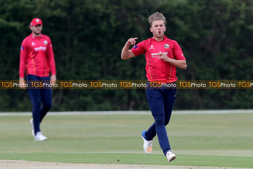 Aaron Beard appeals for a wicket off his own bowleing during Essex CCC 2nd XI vs Surrey CCC 2nd XI, Second XI Trophy Cricket at Billericay Cricket Club on 3rd May 2017