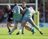 Exeter Chiefs' Sam Simmonds Newcastle Falcons' Mark Wilson and Sam Lockwood<br /> <br /> Photographer Bob Bradford/CameraSport<br /> <br /> Aviva Premiership Play-Off Semi Final - Exeter Chiefs v Newcastle Falcons - Saturday 19th May 2018 - Sandy Park - Exeter<br /> <br /> World Copyright &copy; 2018 CameraSport. All rights reserved. 43 Linden Ave. Countesthorpe. Leicester. England. LE8 5PG - Tel: +44 (0) 116 277 4147 - admin@camerasport.com - www.camerasport.com
