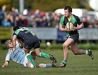 Ballynahinch flanker Willie Faloon on the charge during the AIB Cup semi-final against Garryowen at Ballymacarn Park, Ballynahinch. Mandatory Credit - John Dickson