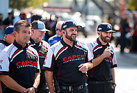 Sep 29, 2019; Madison, IL, USA; Bobby Lagana and brother Dom Lagana crew members for NHRA top fuel driver Billy Torrence during the Midwest Nationals at World Wide Technology Raceway. Mandatory Credit: Mark J. Rebilas-USA TODAY Sports