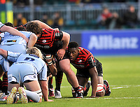Hendon, England. Maro Itoje of Saracens makes his debut  during the LV= Cup match for the first professional rugby game on the artificial turf pitch made for rugby between Saracens and Cardiff Blues at Allianz Park Stadium on January 27, 2013 in Hendon, England.