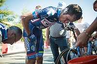 After racing in the 32&deg;C heat all day, race winner Jerome Baugnies (BEL/Wanty - GroupeGobert) is having painful cramps after finishing  <br /> <br /> Vlaamse Druivenkoers 2016
