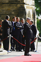 August 15 2012 - FILE PHOTO <br /> German Chancellor Angela Merkel meeting Canadian Prime Minister Steven Harper at the House of Commons in Ottawa.<br /> <br /> Photo (c) Raffi Kirdi - Images Distribution