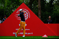 Ashun Wu (CHN) on the 9th tee  during the 1st round at the WGC HSBC Champions 2018, Sheshan Golf Club, Shanghai, China. 25/10/2018.<br />