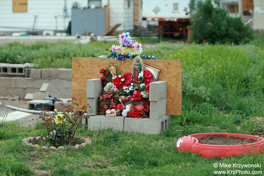 Tornado fatality memorial shrine in Holly, CO