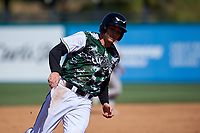 Lake Elsinore Storm designated hitter Taylor Kohlwey (5) rounds third base during a California League game against the Inland Empire 66ers on April 14, 2019 at The Diamond in Lake Elsinore, California. Lake Elsinore defeated Inland Empire 5-3. (Zachary Lucy/Four Seam Images)