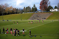 A general view of the team warmup before the 2017 International Women's Rugby Series rugby match between Canada and Australia Wallaroos at Smallbone Park in Rotorua, New Zealand on Saturday, 17 June 2017. Photo: Dave Lintott / lintottphoto.co.nz